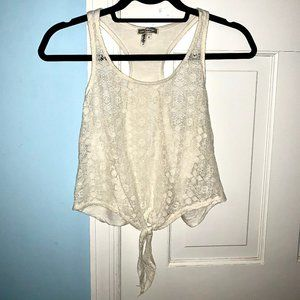 Forever 21 Lace Front Tie Tank Top